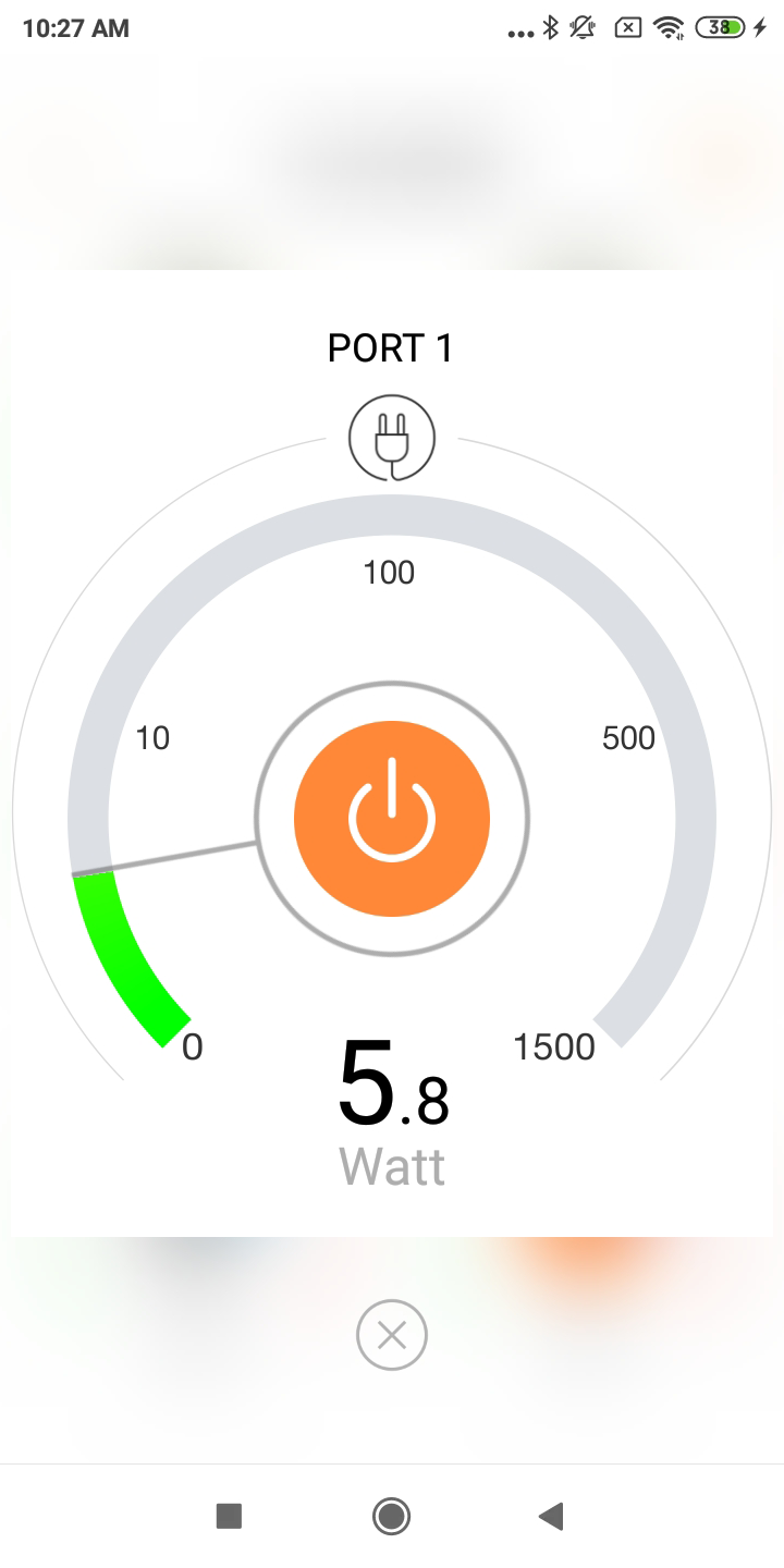 Real-time power consumption of CoCoSo Smart Power Strip.